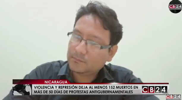 Juan Carlos Arce, representante del Centro Nicaragüense de Derechos Humanos de Nicaragua / Captura CB24