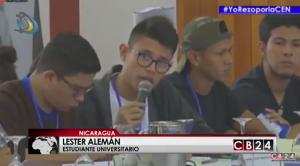 Lester Alemán, dirigente estudiantil y miembro de la coalición universitaria de Nicaragua / Captura CB24